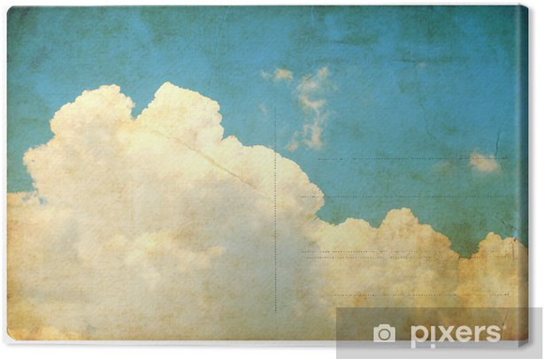 Vintage sky and clouds, retro postcard isolated Canvas Print - Textures