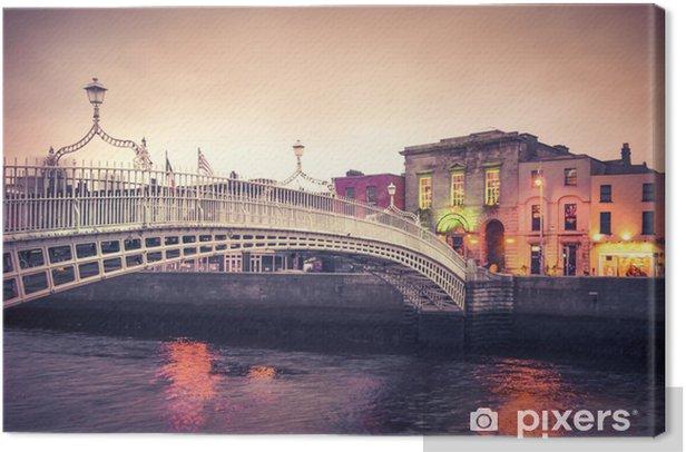 Vintage style historic Ha'penny Bridge, Dublin Ireland at dusk Canvas Print - Themes