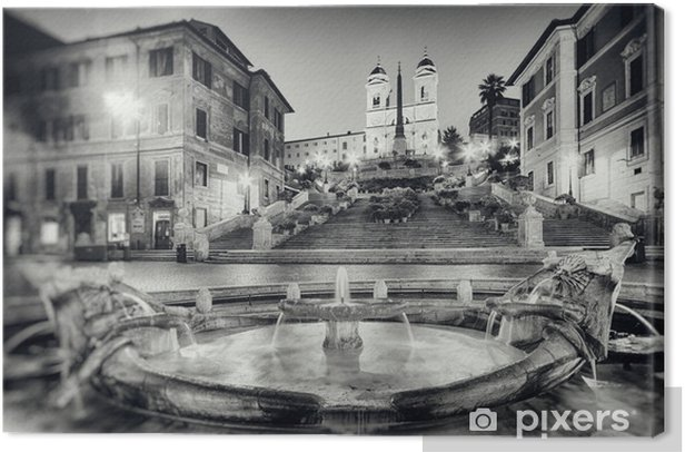 Vintage style photograph of Spanish Steps, Rome - Italy. Canvas Print - Themes