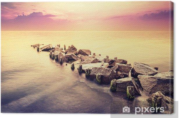Vintage toned beautiful sea landscape after sunset. Canvas Print - Landscapes