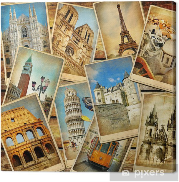 vintage travel collage background Canvas Print - Styles