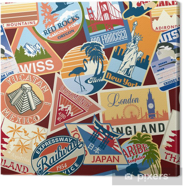 Set Of 55pcs Stickers Travel Suitcase Luggage Labels Vintage Fashioned Style