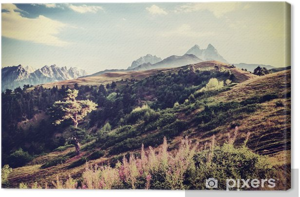 Vintage Valley and Mountains Canvas Print - Landscapes