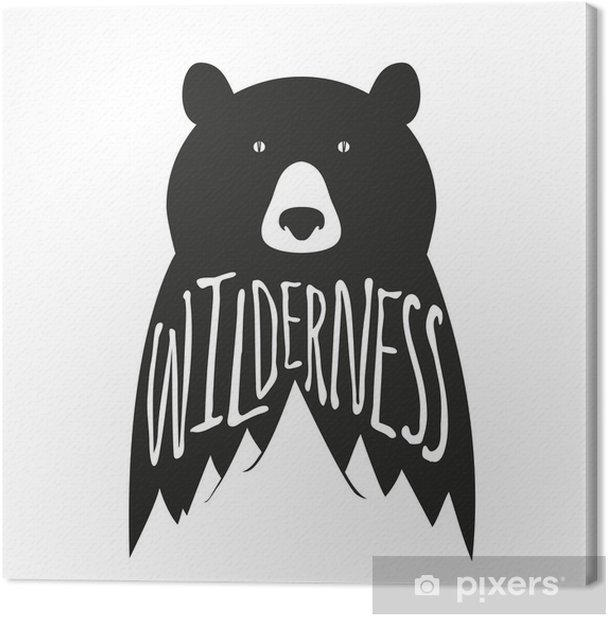 Vintage vector hand drawn typography poster with black bear and mountains Canvas Print - Animals