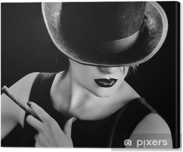Vintage woman with a hat and cigar Canvas Print - Fashion