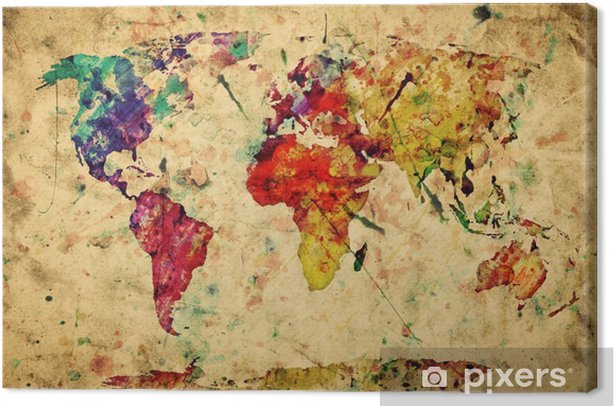 Vintage world map. Colorful paint, watercolor on grunge paper Canvas Print -