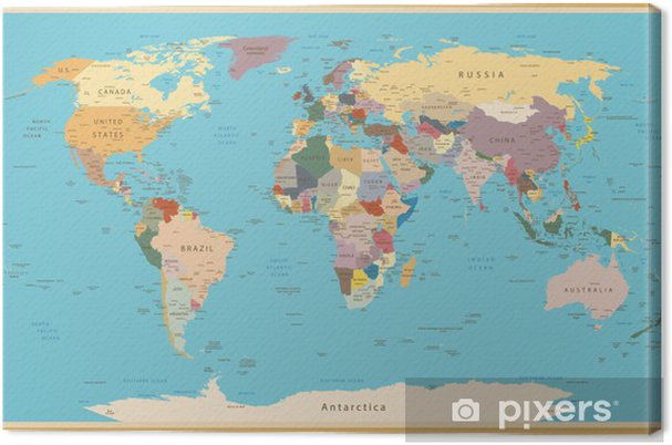 VINTAGE WORLD MAP Canvas Print • Pixers® • We live to change