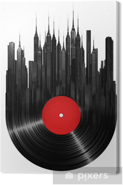 Vinyl city Canvas Print - Wall decals