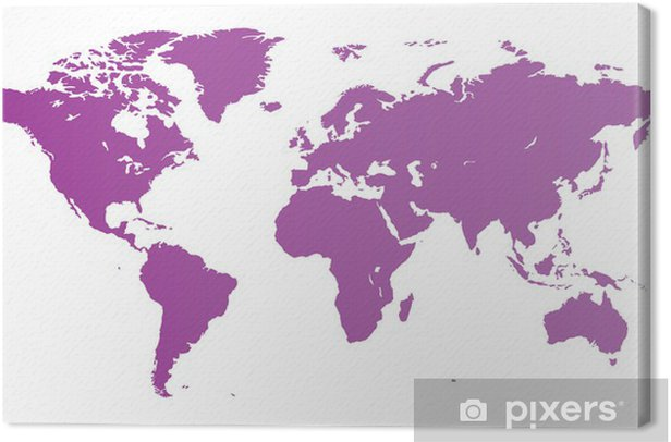 Violet World map Canvas Print - Wall decals