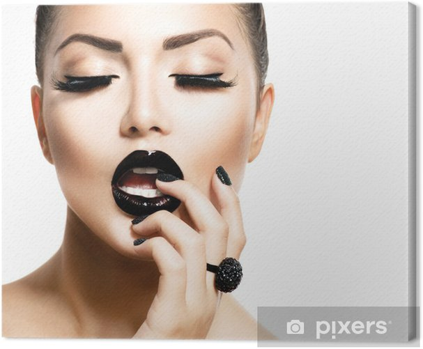 Vogue Style Fashion Girl with Trendy Caviar Black Manicure Canvas Print - Women