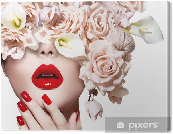 Vogue style model girl face with roses. Red Sexy Lips and Nails. Canvas Print - Themes