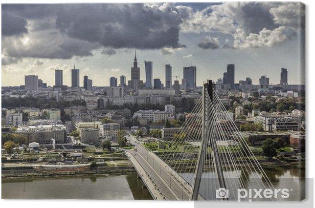 Warsaw skyline behind the bridge Canvas Print - Themes