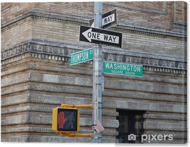 Washington square - Thompson Street. One way. Canvas Print - American Cities