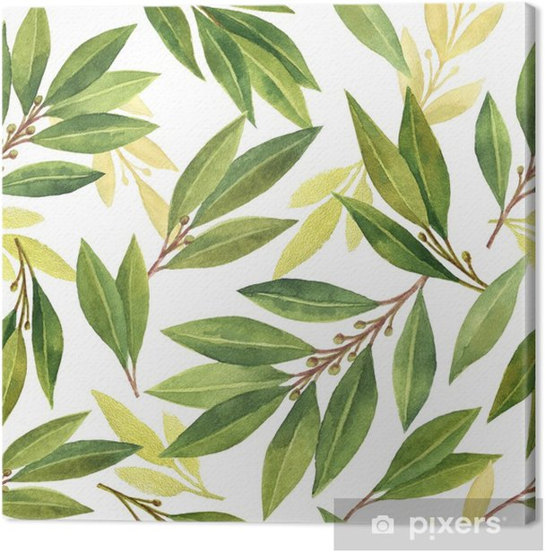 Watercolor Bay Leaf Seamless Pattern Of Flowers And Leaves