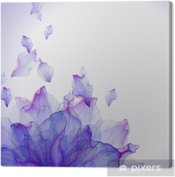 Watercolor card with Purple flower petal Canvas Print - Flowers and plants