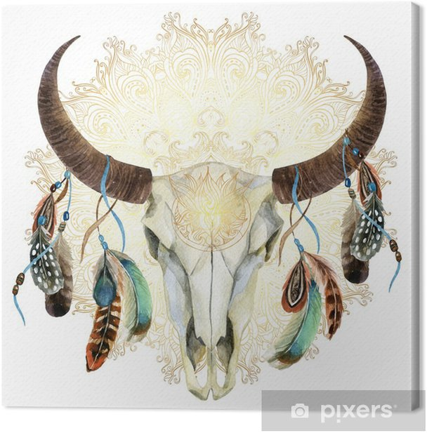 watercolor cow skull with feathers Canvas Print - Animals