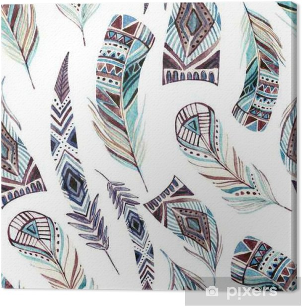 Watercolor decorated tribal feathers seamless pattern Canvas Print - Animals