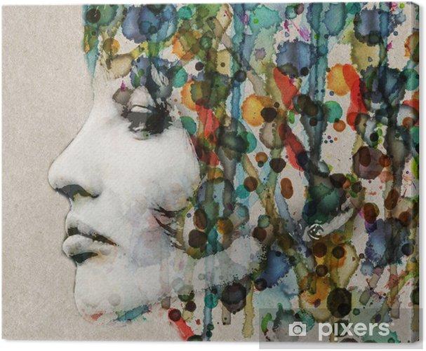 Watercolor female profile Canvas Print - Styles