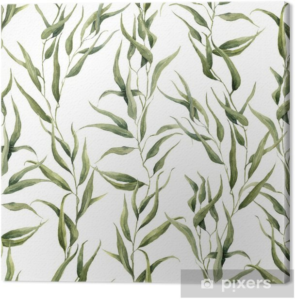 Watercolor green floral seamless pattern with eucalyptus leaves. Hand painted pattern with branches and leaves of eucalyptus isolated on white background. For design or background Canvas Print - Plants and Flowers