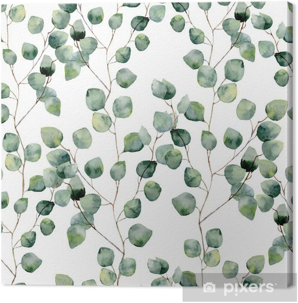 Watercolor green floral seamless pattern with eucalyptus round leaves. Hand painted pattern with branches and leaves of silver dollar eucalyptus isolated on white background. For design or background Canvas Print - Plants and Flowers