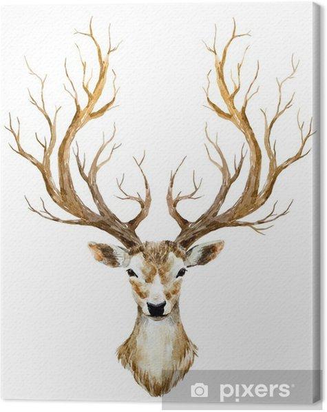 Watercolor hand drawn deer Canvas Print - Animals