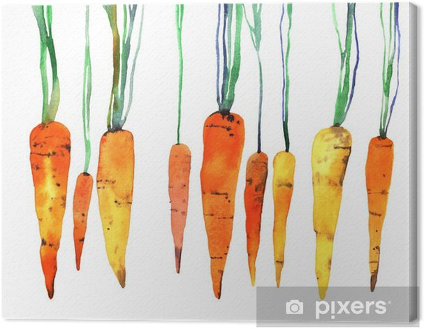 watercolor hand painted carrot Canvas Print - Food