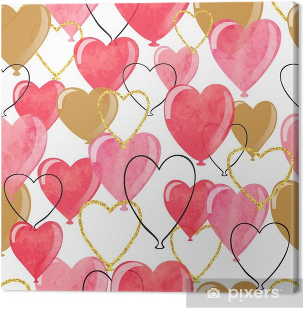 Watercolor Heart Balloons Seamless Pattern Valentines Day Romantic