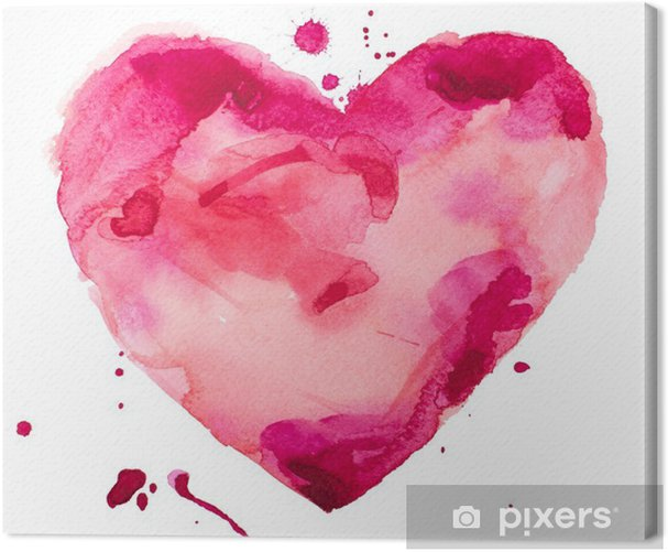 watercolor heart. Concept - love, relationship, art, painting Canvas Print - Concept