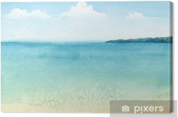 Watercolor illustration of a tropical beach Canvas Print - Relaxation
