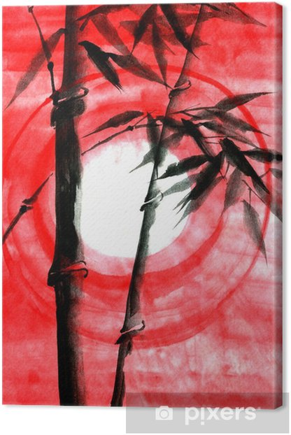 Watercolor ink Japanise bamboo on sunset Canvas Print - Plants and Flowers
