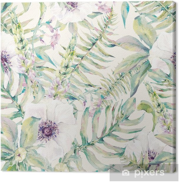 Watercolor leaf seamless pattern with ferns and flowers Canvas Print - Plants and Flowers