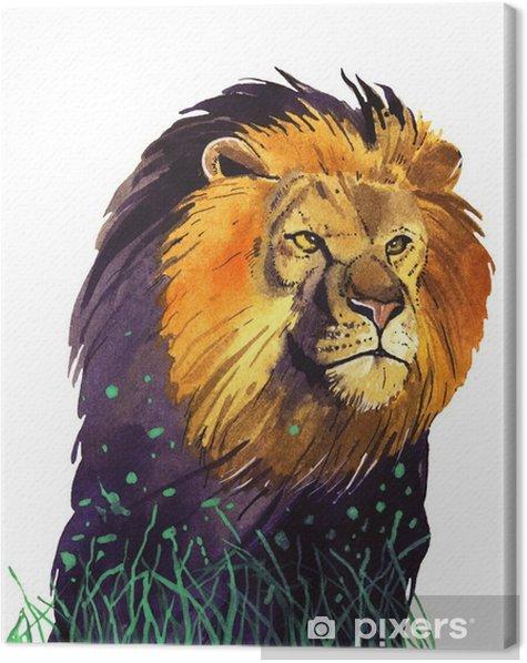 watercolor lion Canvas Print - Animals