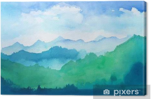 watercolor mountains Canvas Print - The Environment