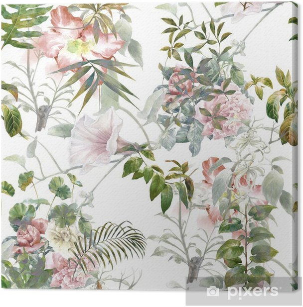 Watercolor painting of leaf and flowers, seamless pattern on white background Canvas Print - Hobbies and Leisure