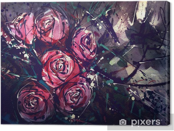 Watercolor painting style roses Abstract Art. Canvas Print - Hobbies and Leisure