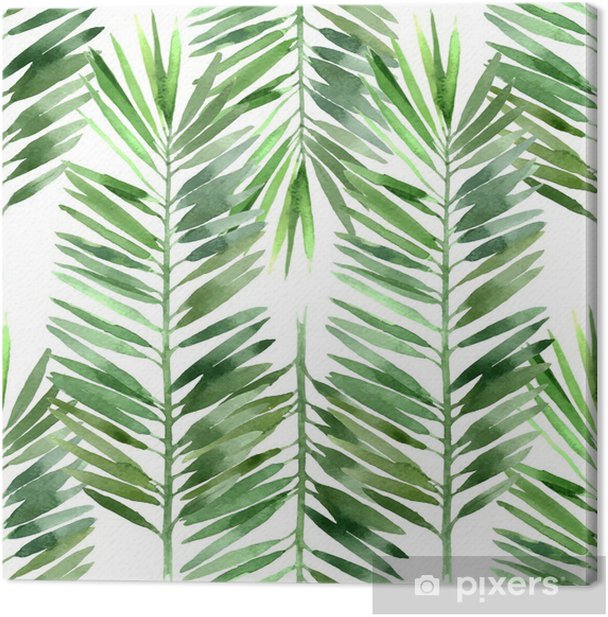 watercolor palm tree leaf seamless Canvas Print - Plants and Flowers