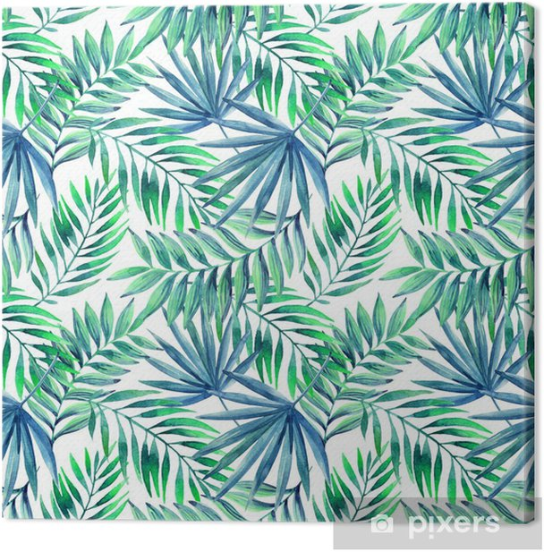Watercolor tropical leaves seamless pattern Canvas Print - Flowers and plants