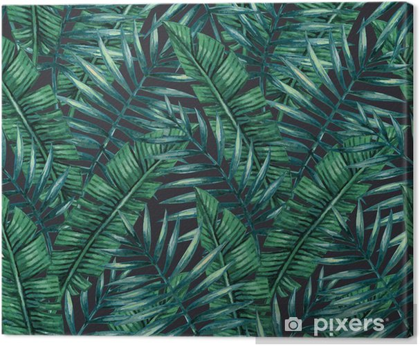 Watercolor tropical palm leaves seamless pattern. Vector illustration. Canvas Print - Graphic Resources