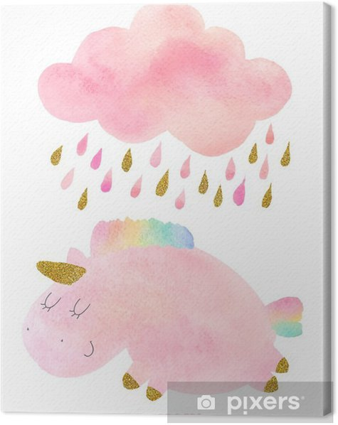 Watercolor unicorn and cloud with rain Canvas Print - Animals