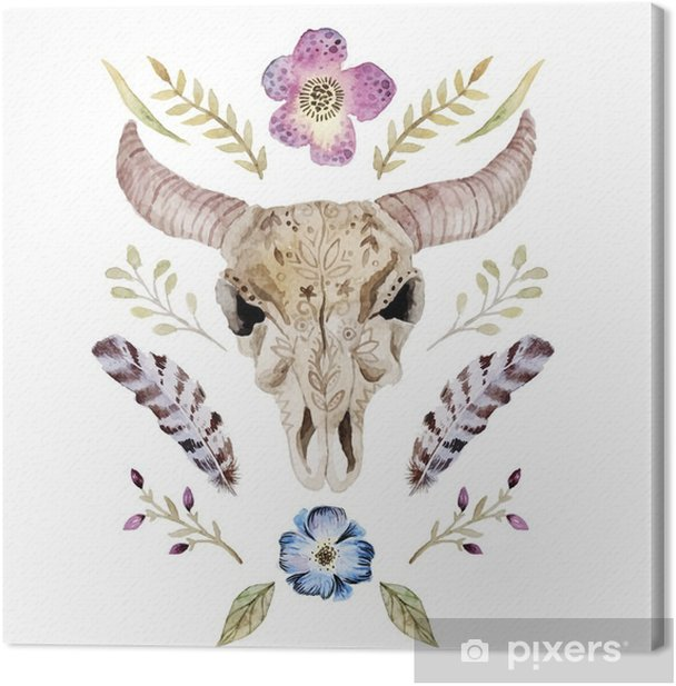 Watercolor vector boho illustration with skull Canvas Print - Graphic Resources