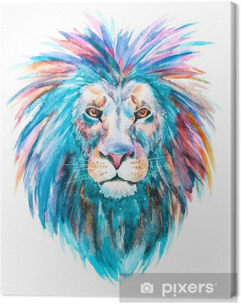 Watercolor vector lion Canvas Print -