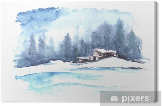 Watercolor winter pattern. Country landscape. The picture shows a house, spruce, pine, forest, snow and drifts. Canvas Print - Landscapes