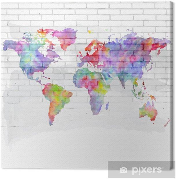 watercolor world map on a brick wall Canvas Print - Themes