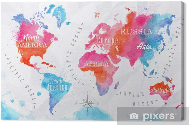 Watercolor world map pink blue Canvas Print -