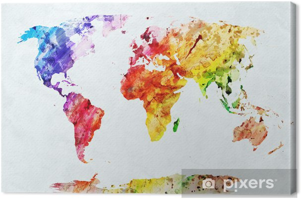 Watercolor world map Canvas Print - Styles