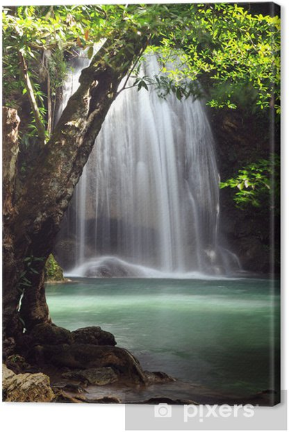 Waterfall in forest of Thailand, Erawan waterfall at Kanchanabur Canvas Print - Themes