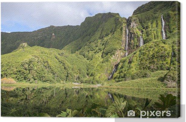 Waterfalls on Flores island, Azores archipelago (Portugal) Canvas Print - Islands