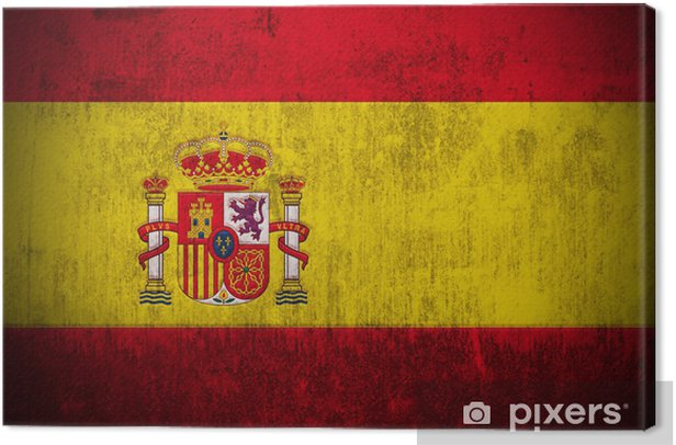 Weathered Flag Of Spain, fabric textured Canvas Print -
