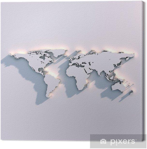 Weltkarte Relief auf der Wand Canvas Print - Themes