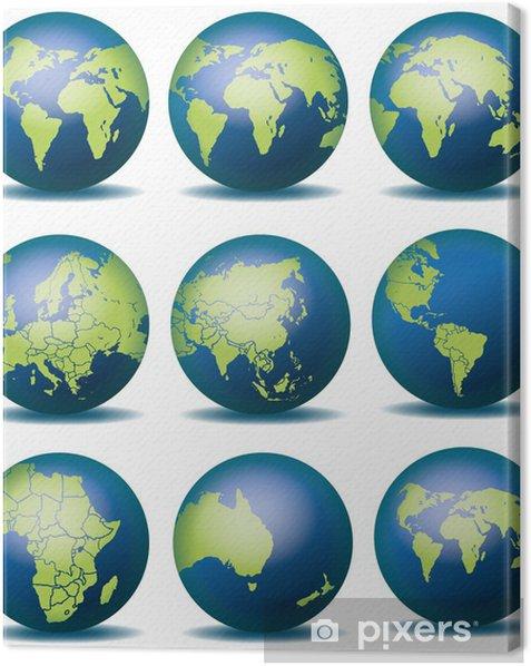 Globus Karte.Weltkugel Weltkarte Landkarte Globus Karte 4 Canvas Print